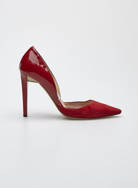 Jimmy Choo DARYLIN RED SUEDE AND PATENT-LEATHER PUMPS
