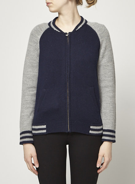 Velvet by Graham & Spencer NAVY AND GRAY WOOL BOMBER JACKET