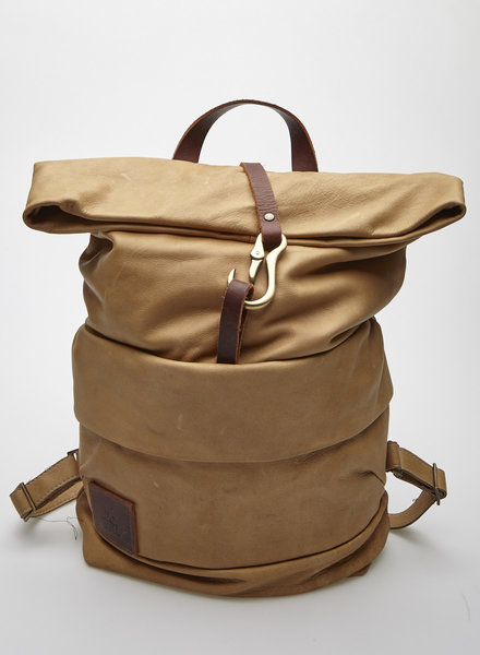 "Lowell ""DAVIDSON"" TAUPE LEATHER BACKPACK"