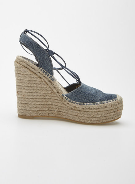 Saint Laurent Paris ESPADRILLES COMPENSÉES EN DENIM
