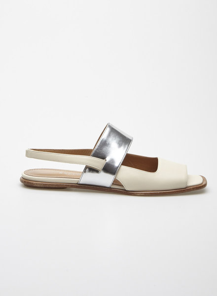 Bally BEIGE AND SILVER LEATHER SANDALS