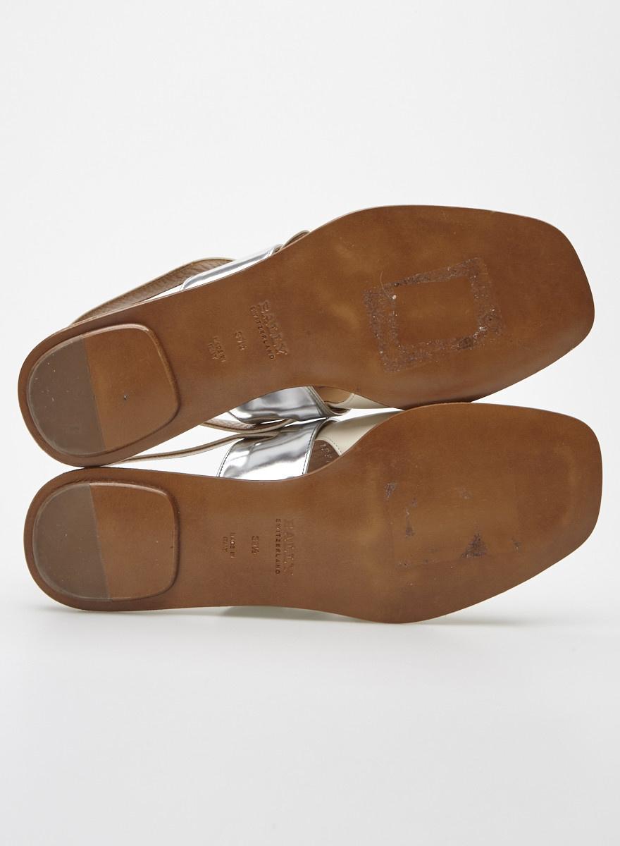 Bally Sandales en cuir beige et argent