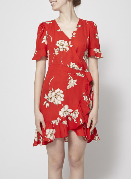 Heartloom RED FLORAL-PRINT WRAP DRESS - NEW