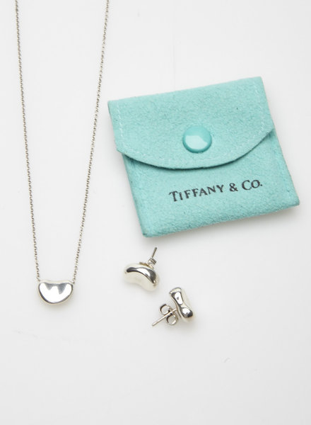 """Tiffany & Co. STERLING SILVER """"BEAN"""" EARRINGS AND PENDANT SET"""