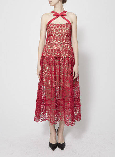 Self-Portrait FUCHSIA LACE DRESS - NEW (SIZE 10)