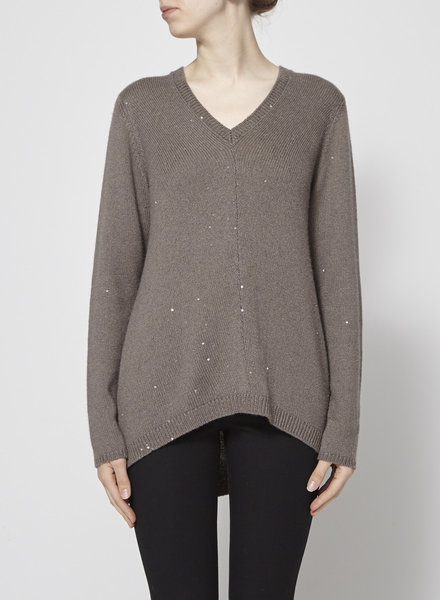 Brunello Cucinelli BROWN CASHMERE SEQUINS SWEATER
