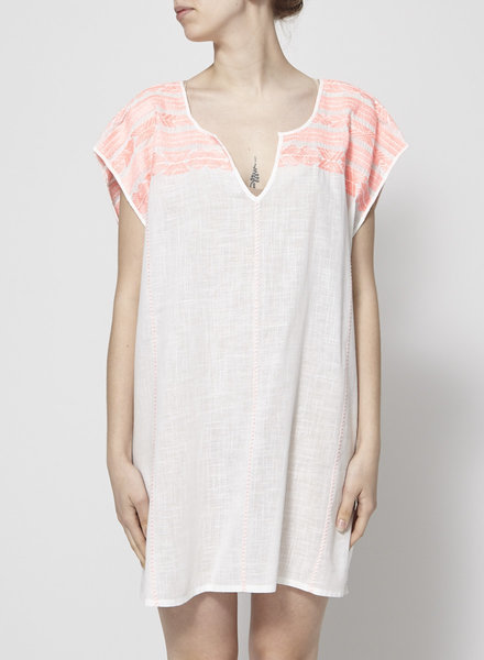 J.Crew WHITE TUNIC WITH NEON EMBROIDERIES