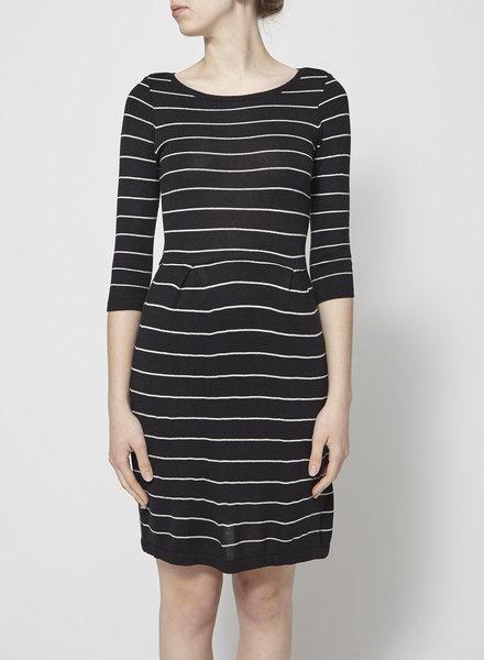 Betina Lou KNITTED STRIPED BLACK DRESS