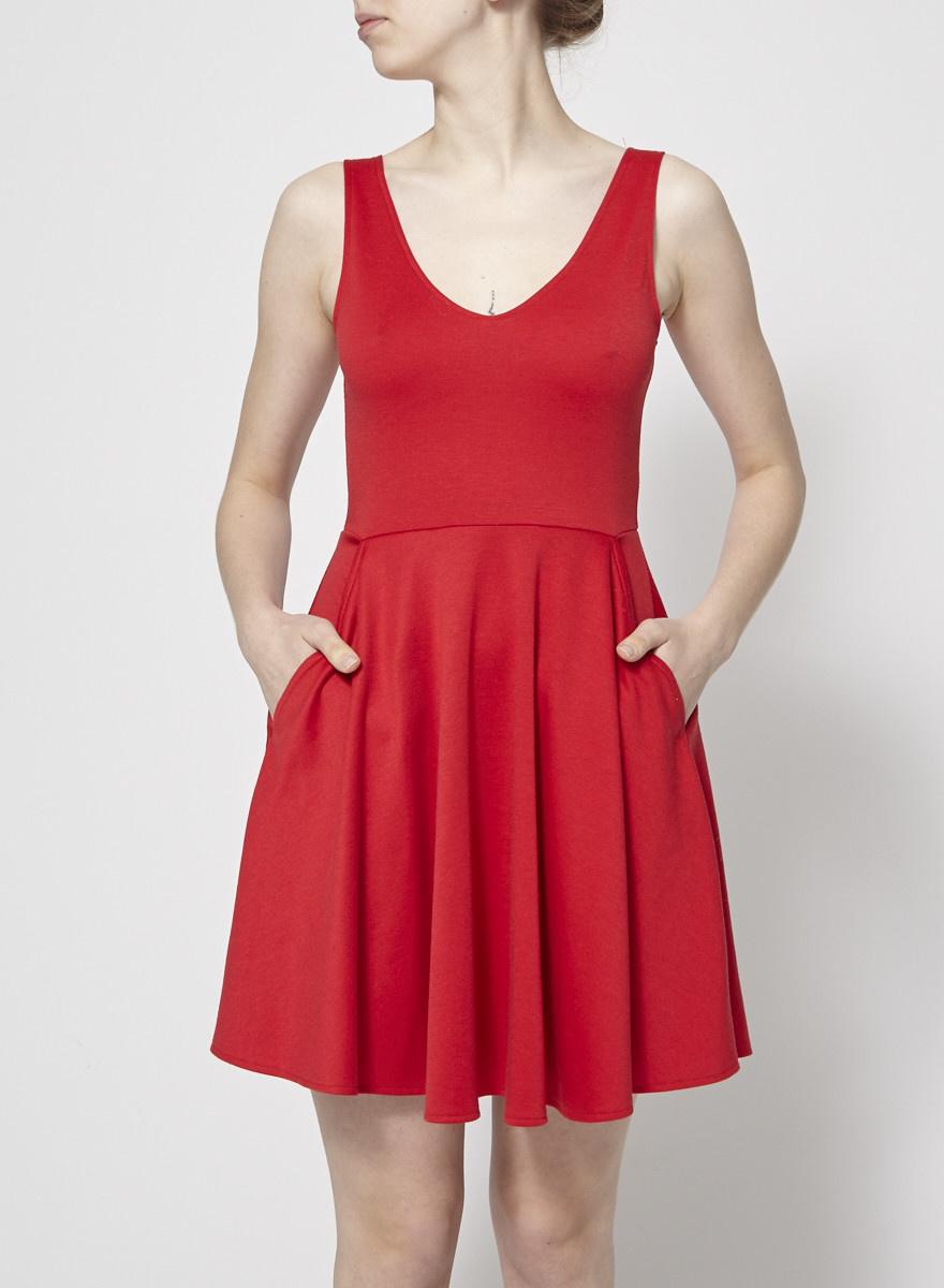 Lustre Robe rouge ballerine à poches
