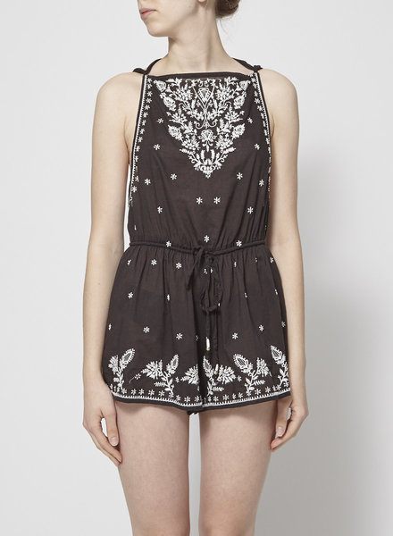 Star Mela BLACK ROMPER WITH WHITE EMBROIDERIES