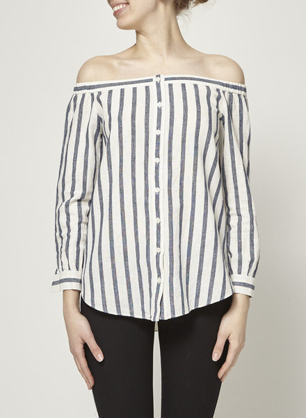 Derek Lam 10 Crosby BLUE AND WHITE OFF-THE-SHOULDER STRIPED TOP