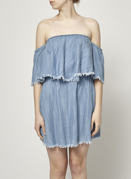 Elan OFF SHOULDER CHAMBRAY DRESS - NEW