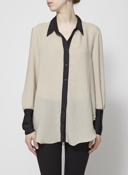 Iris Setlakwe BEIGE SHIRT WITH BLACK SLEEVES