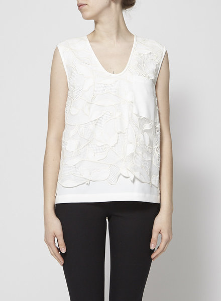 GREY Jason Wu ON SALE - CREAM FLORAL EMBROIDERED LACE TOP