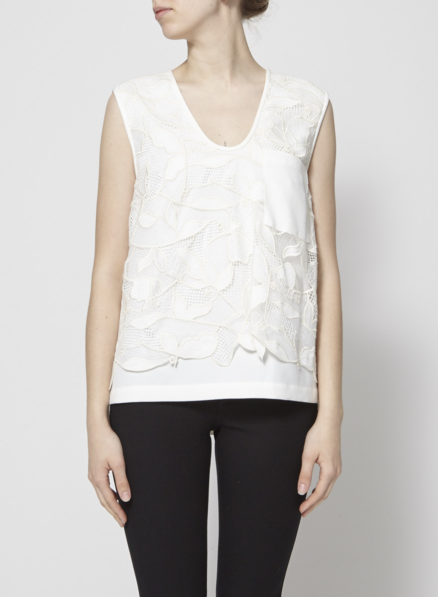 GREY Jason Wu NEW PRICE (WAS $110) - CREAM FLORAL EMBROIDERED LACE TOP