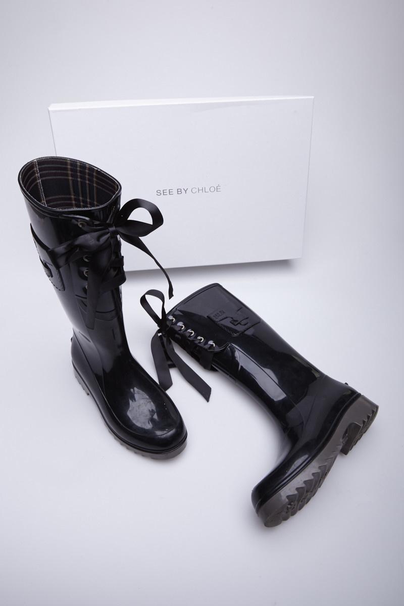 See by Chloe Bottes de pluie noires à lacets