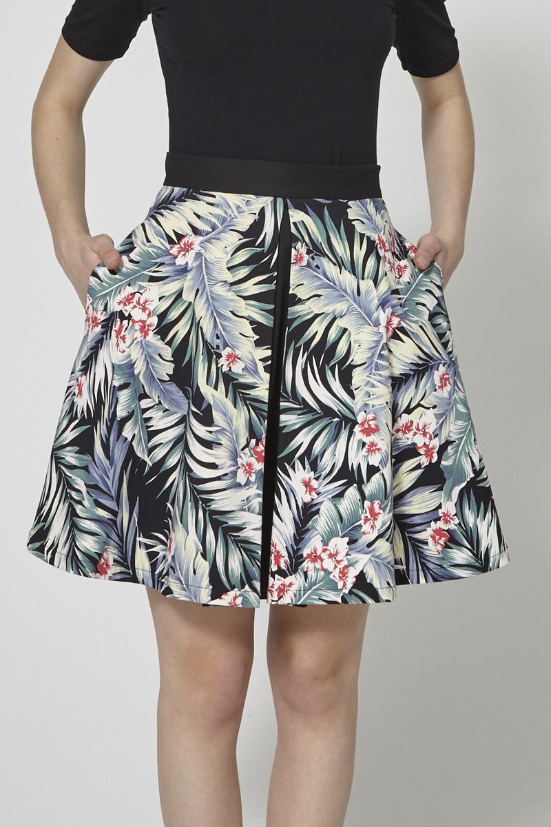 Marigold Tropical-Print Skater Skirt
