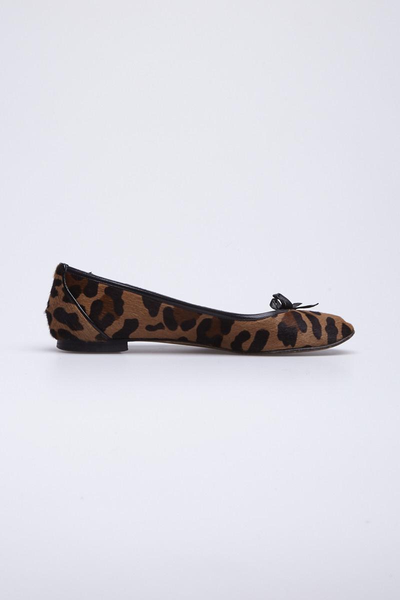 Manolo Blahnik Leopard-Print Calf Hair Ballerina Flat
