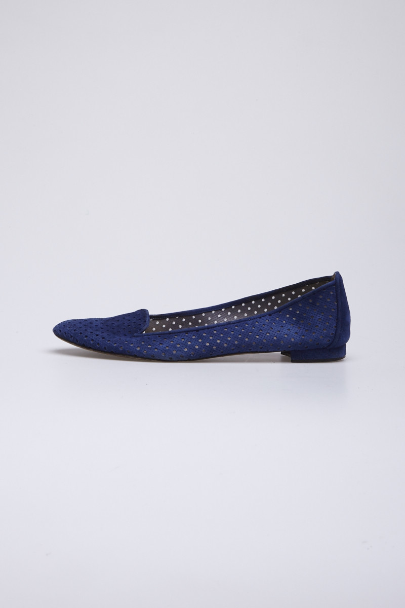 Manolo Blahnik Blue Perforated Suede Flats