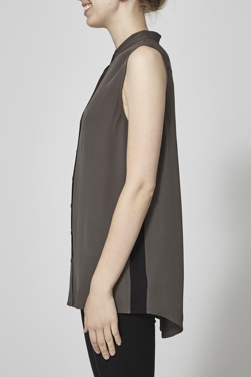 Theory Kaki Sleeveless Shirt with Black Side Panel