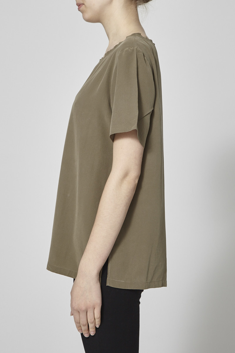 Theory Taupe Silk Top