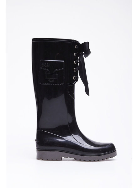 See by Chloe LACE-UP BLACK RAIN BOOTS