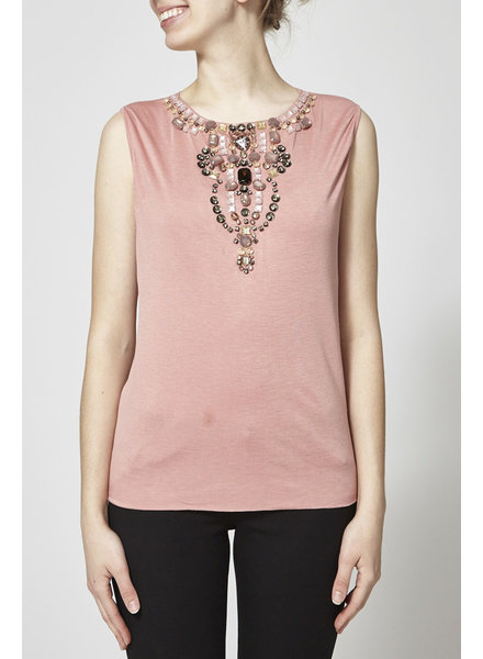 Dolce & Gabbana NEW PRICE - PINK EMBELLISHED SLEEVELESS T-SHIRT