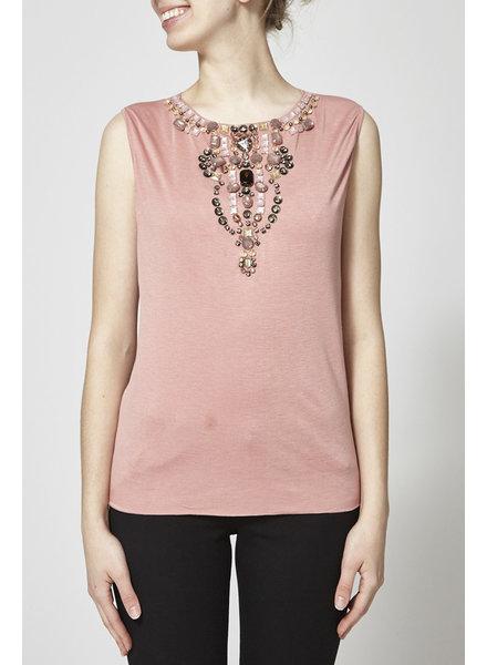 Dolce & Gabbana T-SHIRT ROSE SANS MANCHES À COL BIJOUX