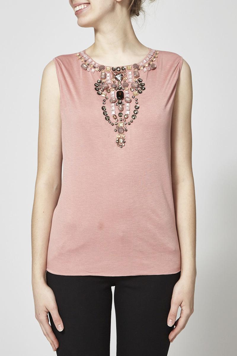 493045283d Pink Embellished Sleeveless T-Shirt - DOLCE   GABBANA - DEUXIEME EDITION