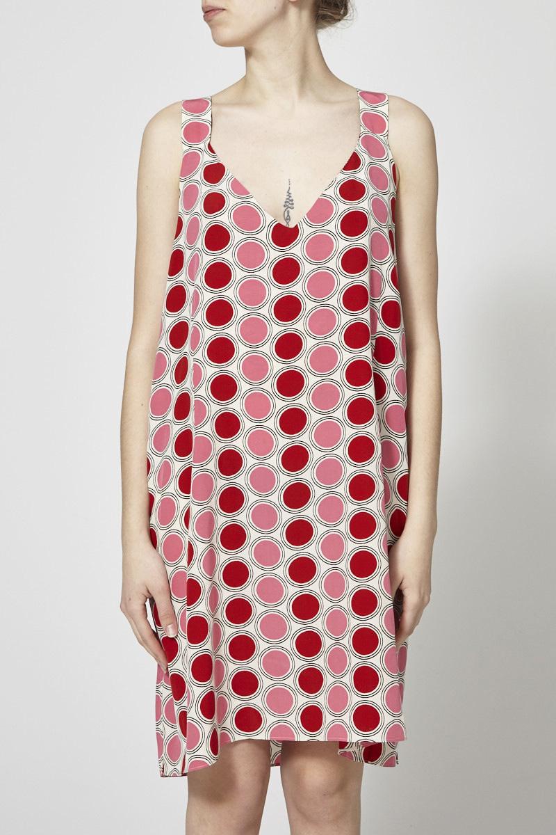 Marni Robe en soie à pois rouge et rose