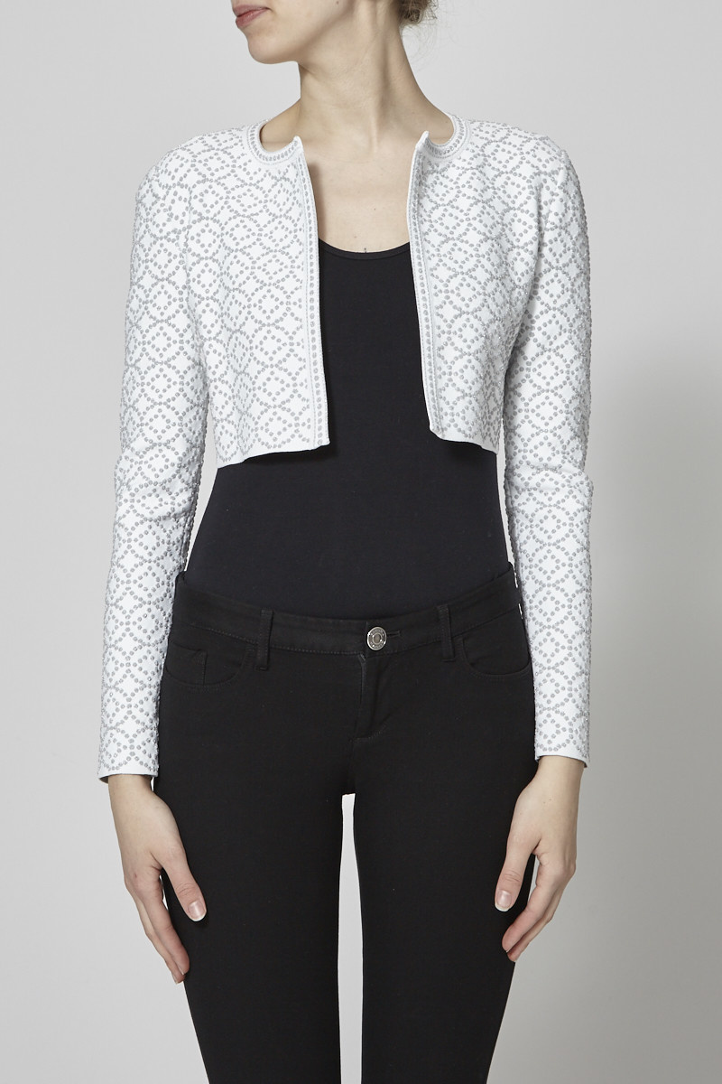 Alaïa Paris Cropped White Jacket and Silver Polka Dot