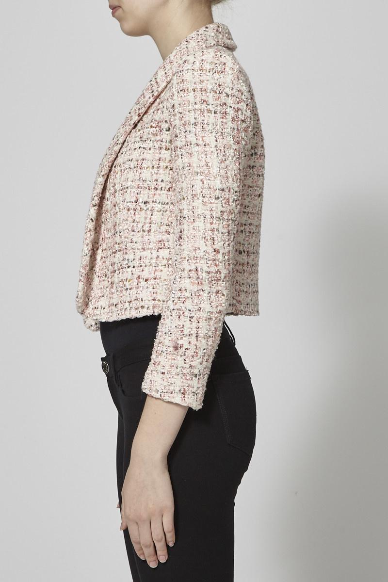 Alice + Olivia Veston en tweed rose et crème