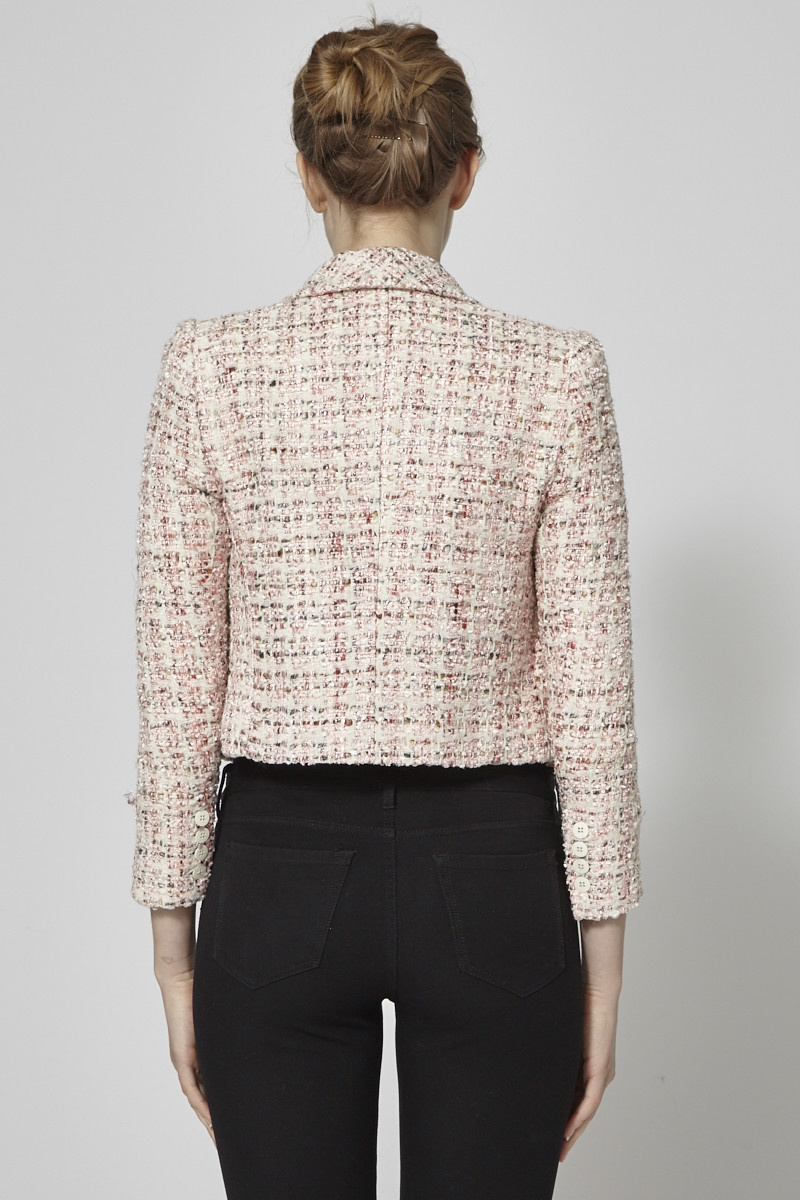 Alice + Olivia Pink and Off White Tweed Jacket