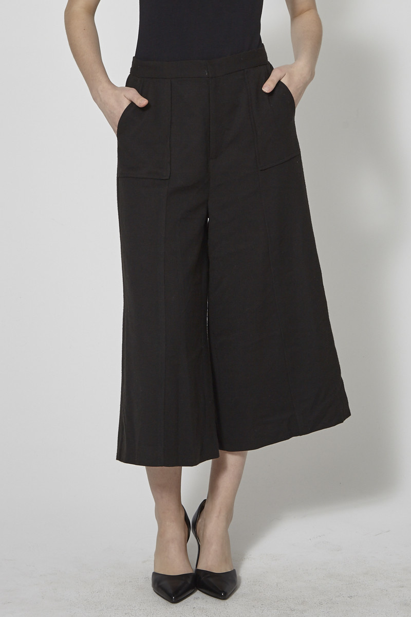 Darling Black Wide Leg Cropped Vita Trousers - New