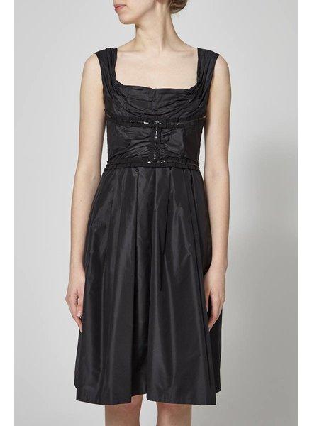 Dolce & Gabbana SATIN AND PLEATED BLACK DRESS