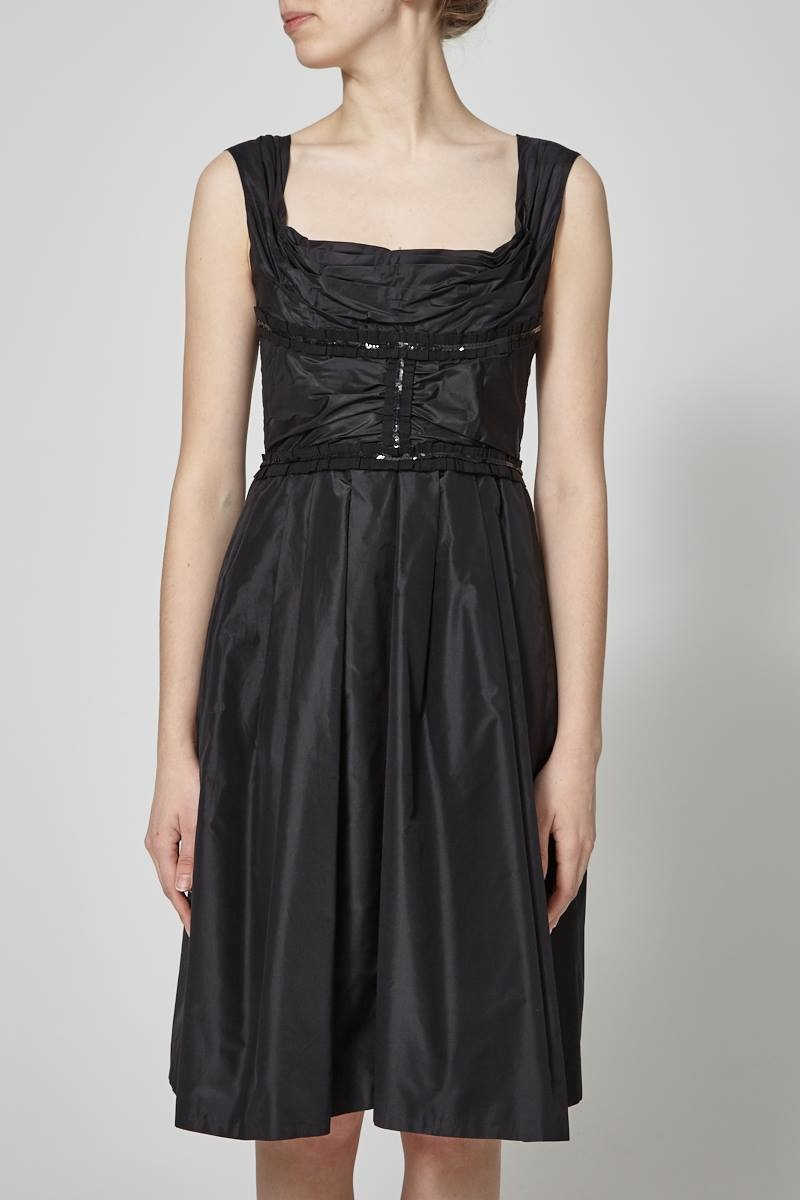 Dolce & Gabbana Satin And Pleated Black Dress