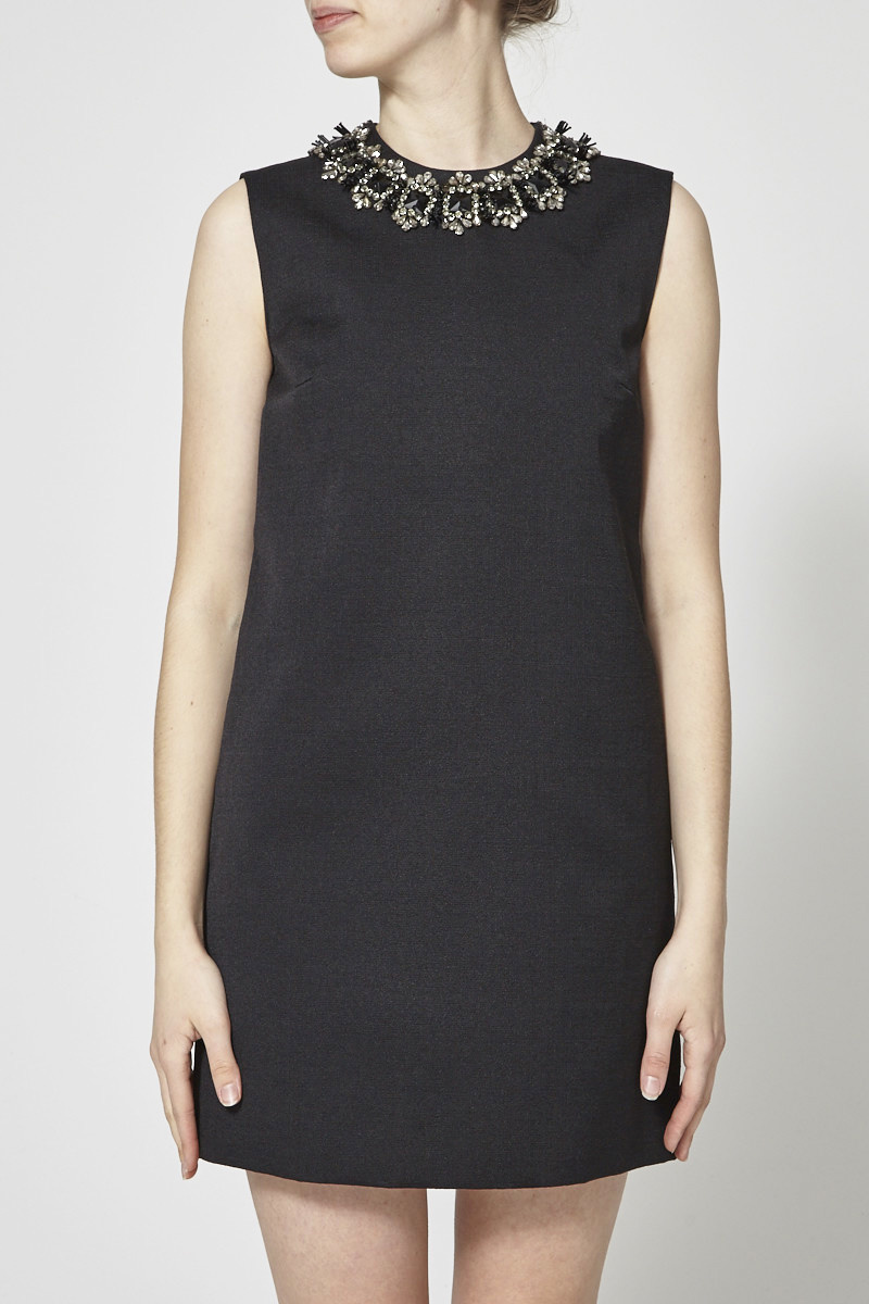 DSQUARED2 Black Dress With Jewelry Collar