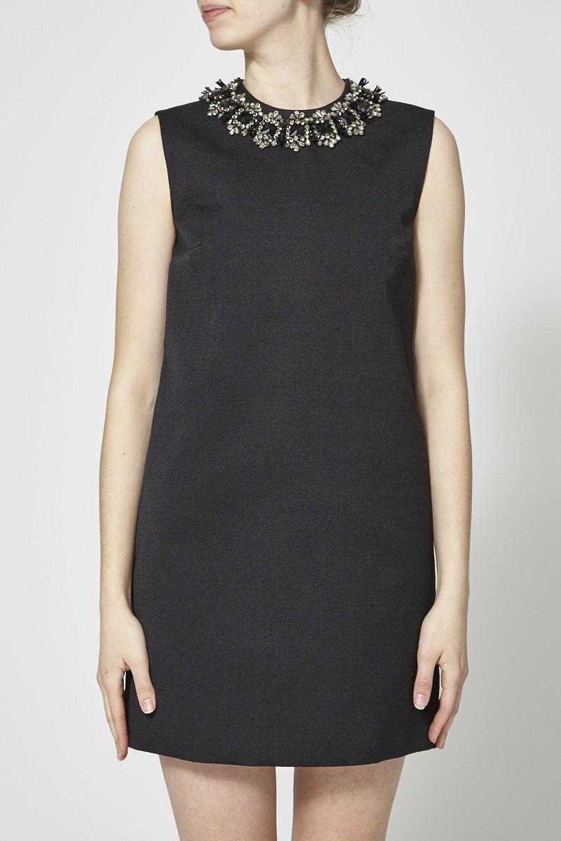 DSQUARED2 Robe noire rigide à col bijoux