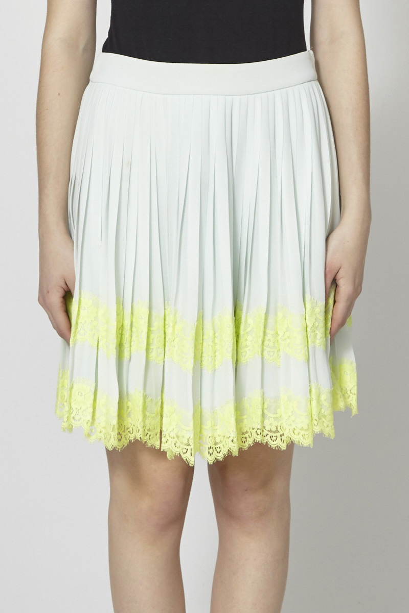 Ted Baker Mint Pleated Skirt with Yellow Lace Panels