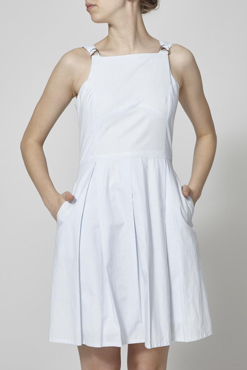 Marigold Blue and White Striped Cotton Dress