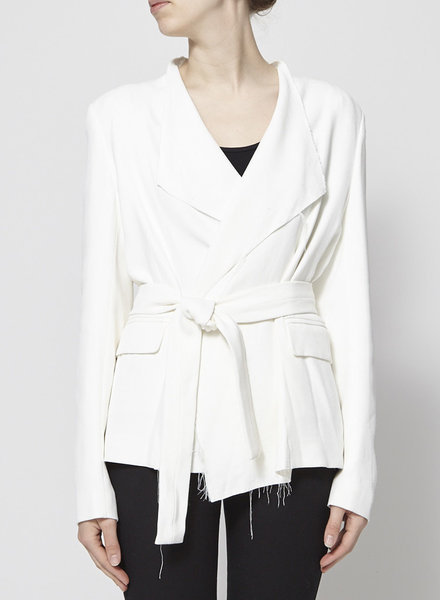 Iro OFF-WHITE JACKET WITH FRAYED SEAMS