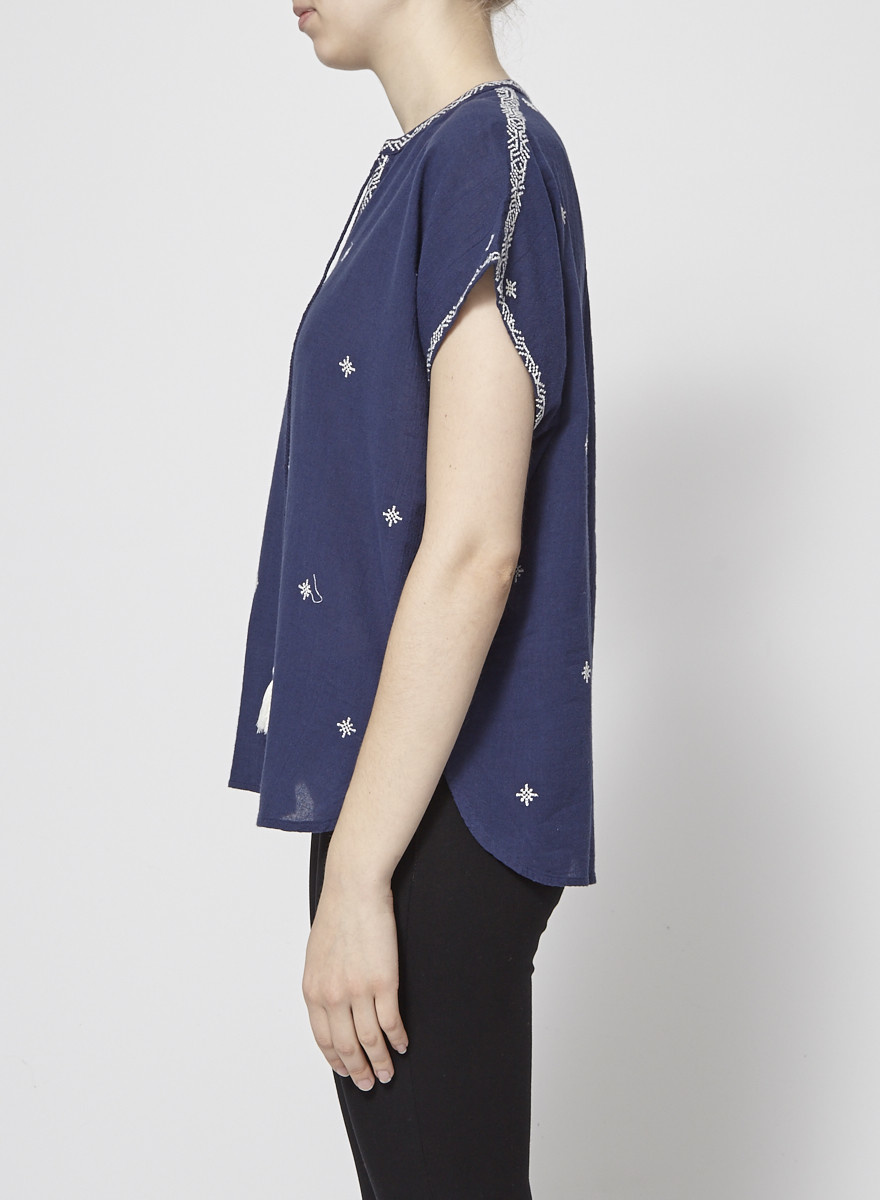 Star Mela Stars Embroidered Navy Top - New