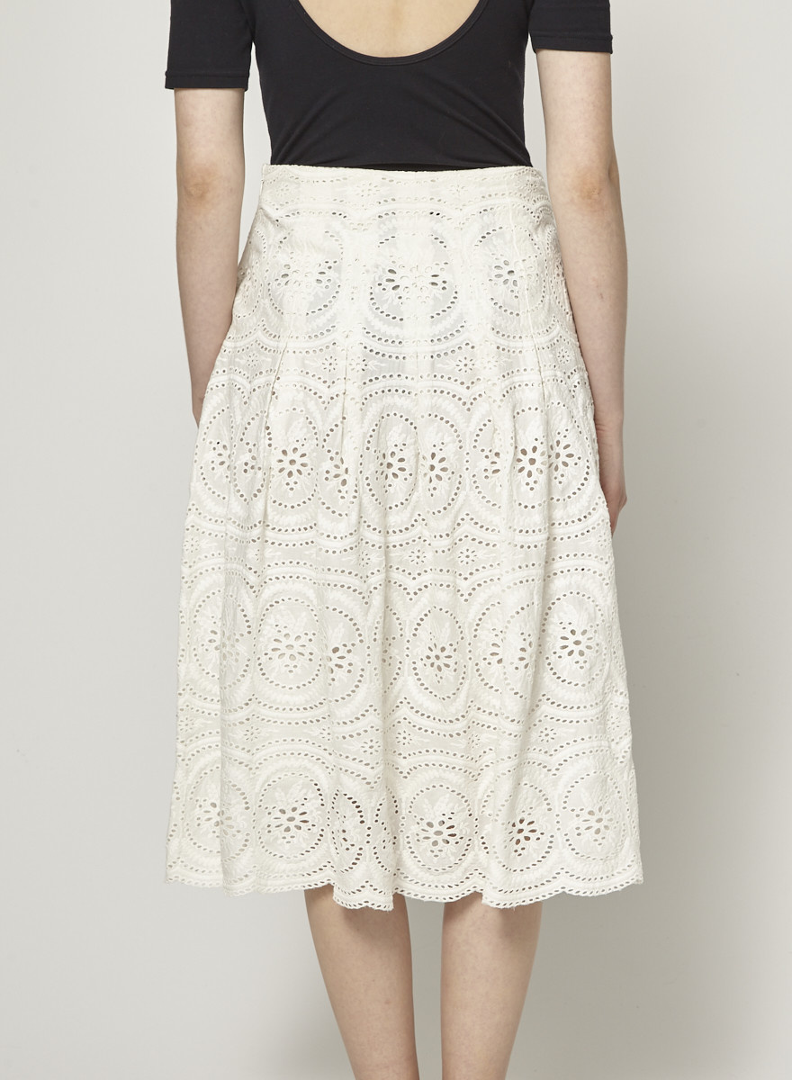Joie Off White Lace Skirt
