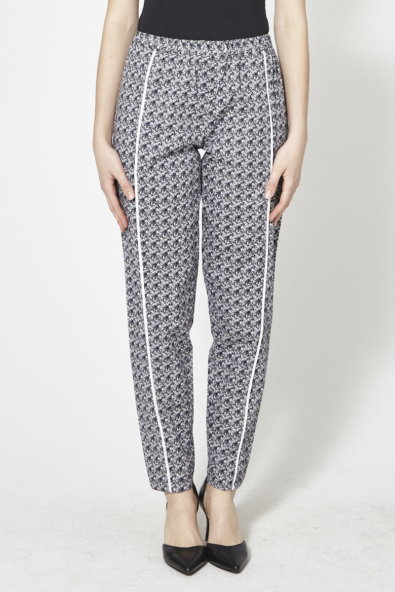 Marigold Palm-Print Elastic Waistband Pants