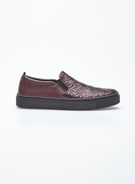 The Flexx BURGUNDY AND SPARKLING LEATHER SNEAKERS
