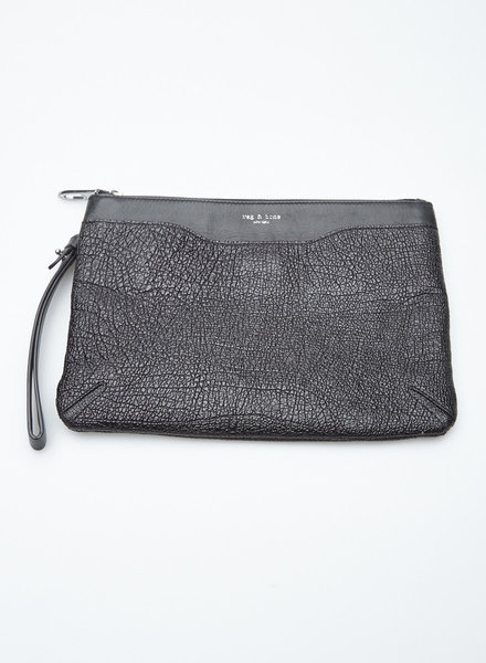 Rag & Bone CRACKLED LEATHER ZIP CLUTCH BAG