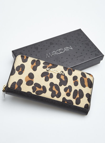 Marc Cain LEOPARD-PRINT CALF HAIR AND LEATHER WALLET - WITH TAG