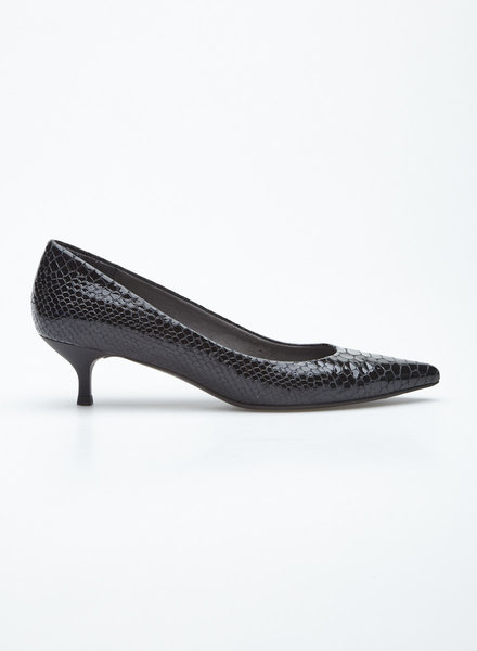 Stuart Weitzman BLACK PATENT LEATHER SNAKE EFFET PUMPS