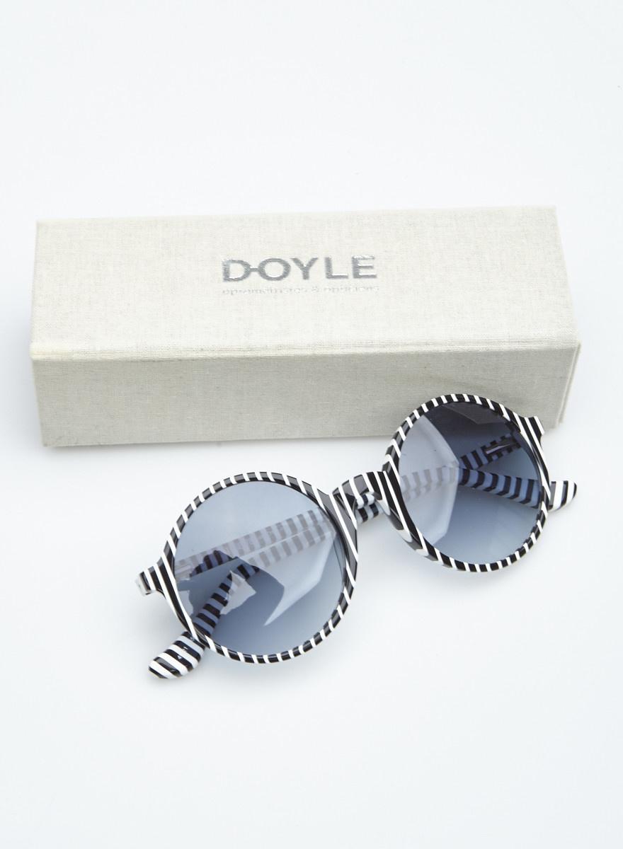 Doyle Lunettes de soleil à rayures noires et blanches