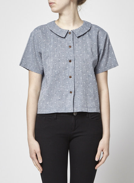 Atelier B COTTON AND LINEN CHAMBRAY SHIRT WITH WHITE DOTS